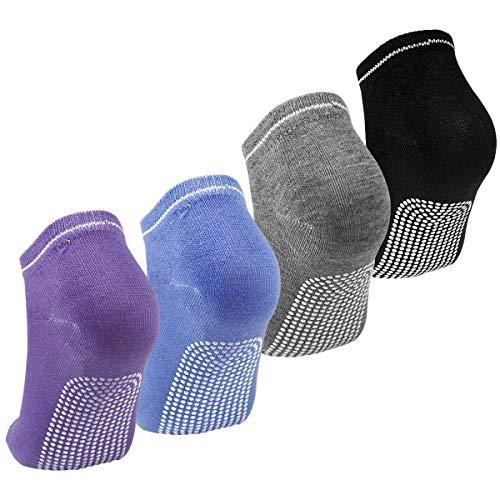 Dokpav Yoga Socken Damen Anti Rutsch Pilates Socken mit ABS-System Set von 4 rutschfeste für Yoga Pilates...