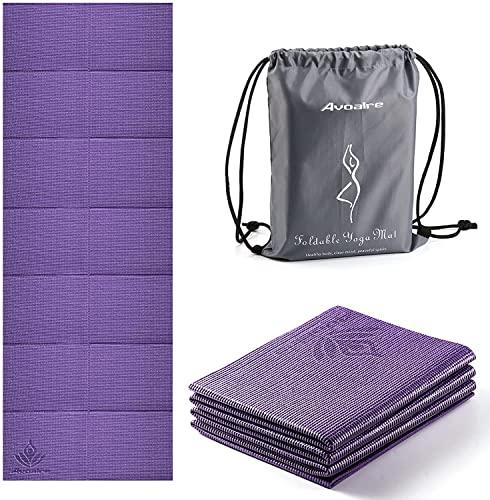 Avoalre Faltbar Yogamatte Falten 173x61x0.5CM, Pilatesmatte, Fitness Gymnastikmatte, ideale Trainingsmatte für Yoga, Pilates, Violett