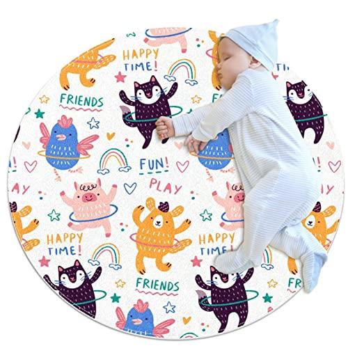 Teppich, runde Bodenmatten, Yoga-Spielmatten, Heimdekoration, saugfähig, rutschfest, maschinenwaschbar, 90 x 90 cm, Hula-Hoop-Reifen, Tiere