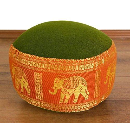 livasia Meditationskissen Thaiseide I Yogakissen klein Kapok I Pouf I Bodenkissen Yoga Zen I Sitzkissen Garten Balkon I Zafukissen handgefertigt Ø 32 x 20 cm (Grün / Orange / Elefanten Seide)