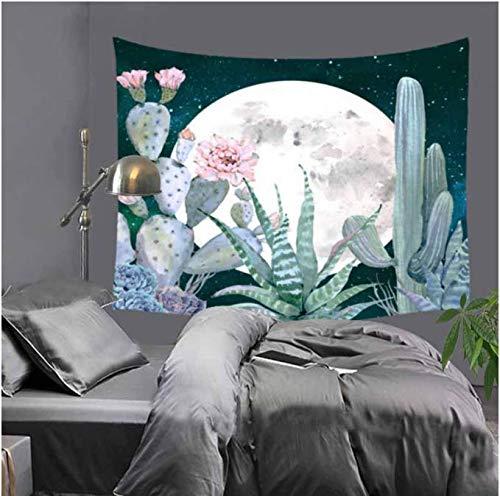 Mandala Wandteppich Kakteen Wandteppich grüne Pflanzen 3D Blume Art Teppich Decke Yoga Teppich Deko für Zuhause 130 x 150 cm