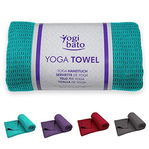 Yogibato Yoga Handtuch rutschfest & schnelltrocknend – Yogahandtuch Antirutsch – Mikrofaser Yogatuch – Non Slip Yoga Towel [183 x 61 cm] Türkis