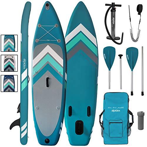 ALPIDEX Stand Up Paddle Set SUP 305 x 76 x 15 cm Belastbar bis 110 kg Aufblasbar Stabil Leicht Komplett Set...