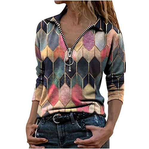 Geilisungren Damen Vintage Bedruckte Kurzarm T-Shirts Sommer Casual Bluse Oberteil Reißverschluss V-Ausschnitt Umlegekragen Pullover Tops