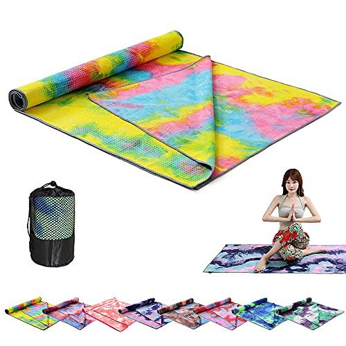 Flytise Schnell trocknende, rutschfeste, Faltbare Yoga-Handtuch-Fitness-Decke mit Netztasche