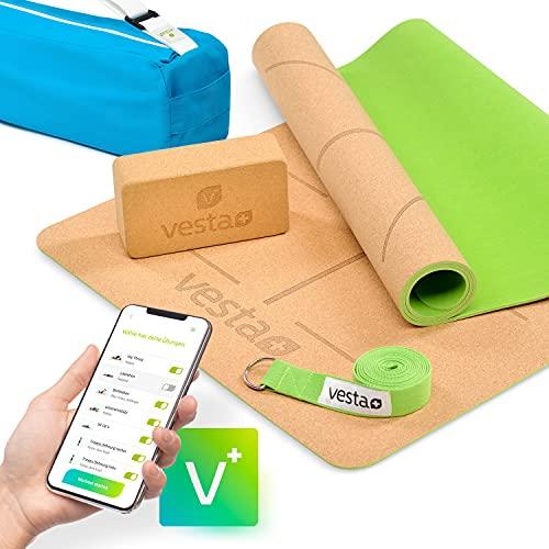 Vesta+ Yogamatte Kork+ Yogablock+ Yogagurt+ Tasche+ Fitness App | Deine Yogamatte Kautschuk aus öko Naturkork | Kork Yogamatte rutschfest | Die Yogamatte Naturkautschuk für das Plus Deinem Workout!