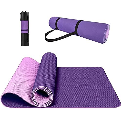Yogamatte Rutschfest, ungiftig, mit Tragegurt Yogamatte mit Ausrichtungslinien für die Körperhaltung. Gymnastikmatte, Sportmatte, Fitnessmatte, Trainingsmatte Yogamatte.(lila)