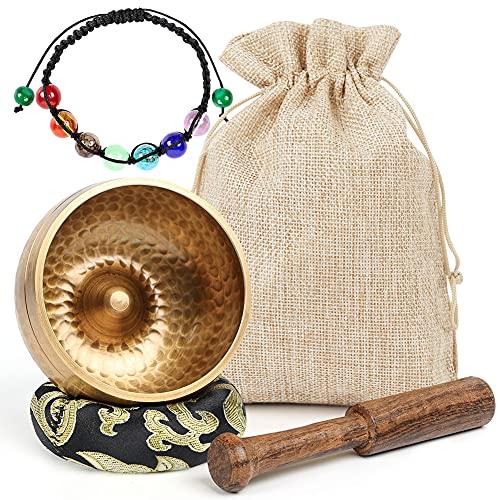 Koogel Tibetische Klangschale Set, 8cm goldene Klangtherapie Singing Bowl mit Klöppel Kissen und...