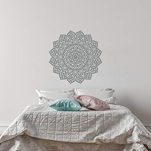 Mandala Wandtattoo - Yoga Om Namaste Vinyl Wandtattoos für Schlafzimmer Wohnheim Yoga Studio Home Decor - Mandala Wandkunst Boho Hellgrau 42x42CM
