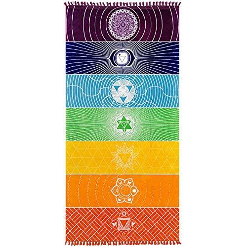 Jixista Strandtuch Yogamatte Handtuch Böhmen Yoga Decke Tapestry Printed Regenbogen 7 Chakra Mandala...