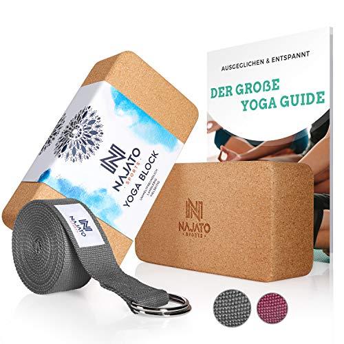 NAJATO Sports Yoga Block Kork 2er Set – Mit Yoga Gurt & E-Book – Yogaklotz für Yoga und Pilates – Yogablock aus natürlichem Kork – Rutschfester Yoga Klotz