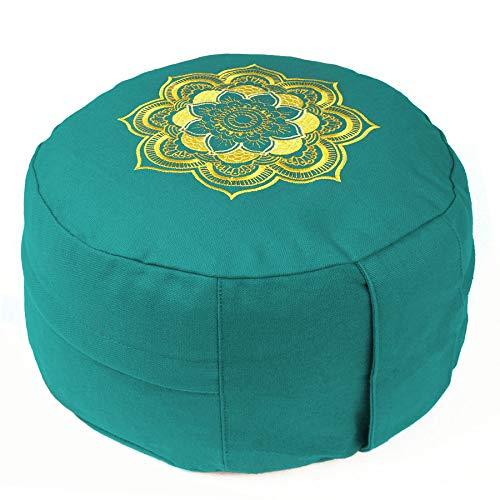 Lotus Design Meditationskissen/Yogakissen, Stickerei Mandala, 15 cm hoch, Bezug aus Baumwolle waschbar, Yoga-Sitzkissen bunt mit Buchweizenschalen, sozial und fair hergestellt
