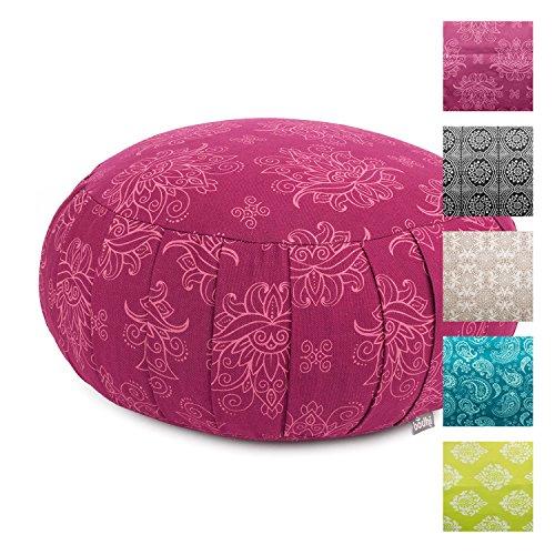 Bodhi Meditationskissen ZAFU Lotus, Berry, Maharaja Collection, Baumwoll-Bezug (Köper) Nicht abnehmbar, Dinkel-Füllung, ca. 38 x 20 cm, Kissen mit Dehnfalten für Sitzmeditation