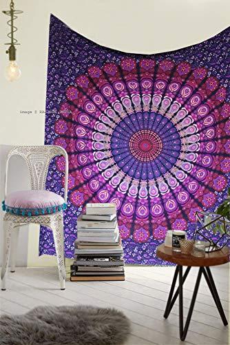 Raajsee Indisch Psychedelic Mandala Lila Wandteppich / Indien Elefant Boho Wandtuch Hippie Wandbehang 54x82 Inches