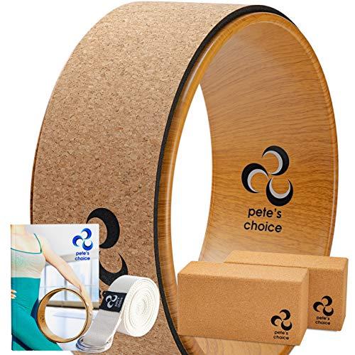 Yoga Rad Holz und Yoga Blocks aus Kork mit Zusätzlichem eBook und Yoga Gurt. Extra Feste, Massive...