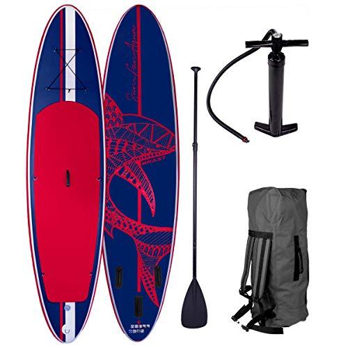 SUP Board Stand up Paddle Paddling Shark Blau Rot 300x76x15cm aufblasbar Alu-Paddel Hochdruck-Pumpe...