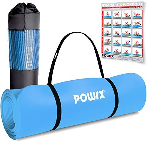 POWRX Gymnastikmatte | Yogamatte Premium inkl. Tragegurt + Tasche + Übungsposter GRATIS I Hautfreundliche Fitnessmatte TÜV Süd bestätigt Phthalatfrei (Blau, 190 x 60 x 1 cm)