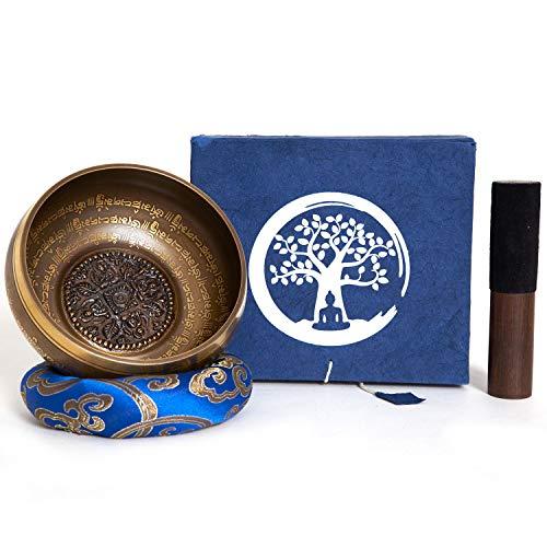Klangschale aus Nepal – 600g – 14cm – 5 Metalle – Rosenholz Klöppel mit Leder – für Meditation –...