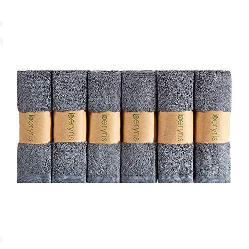 Beryris waschlappen baby Bambus Baby Waschlappen (6er-Pack)-25x25cm handtücher klein hautfreundlicher Stoff , waschbarer Stoff. 600GSM Eignet für Erwachsene, Menschkörper, Säugling, Kind -grau