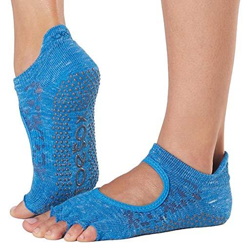 Toesox Damen Grip Pilates Barre Socks-Non-Slip Bellarina Half Toe for Yoga & Ballet, Lapis, M