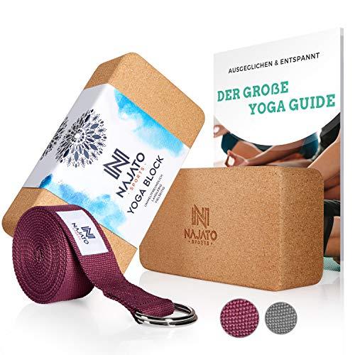 NAJATO Sports Yoga Block Kork 2er Set – Mit Yoga Gurt & E-Book – Yogaklotz für Yoga und Pilates –...