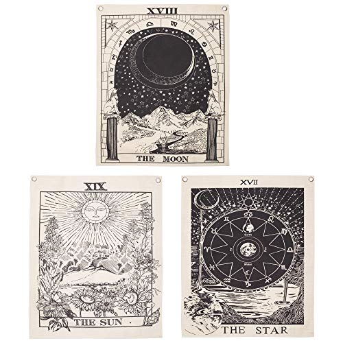 Simpkeely 3 Stück Tarot-Tapisserie, The Sun The Moon The Star Tarot-Karte Tapisserie Mittelalter Europa Wahrsagung Wandbehang mit rostfreien Ösen