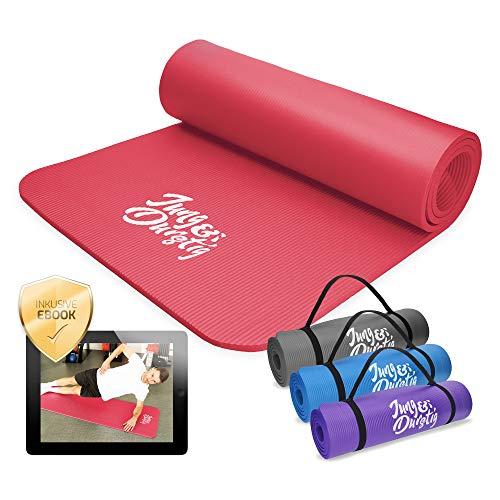 Jung & Durstig Original Yogamatte mit Tragegurt | Gymnastikmatte inklusive Übungen | Sportmatte mit Ebook Workout | Fitnessmatte rutschfest | 180 x 60 x 1 cm | Rot