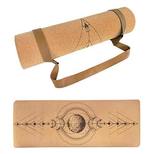 MENKAI-Yogamatte,Ökologische Kork-Antirutsch-Sportmatte,183x65cm,6mm dick,Yogamatte,für Pilates,Fitness,inkl Tragegurt (Yoga Mat 005)