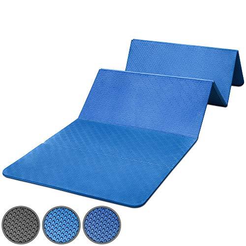 POWRX Gymnastikmatte Faltbar PVC Frei 180 x 60 x 1,5 cm Blau oder Schwarz | Trainingsmatte Pilatesmatte...
