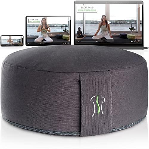 BACKLAxx® Bezug Meditationskissen mit Buchweizen Füllung Yogakissen - Sitzhöhe 15cm und Sitzbreite 35cm Joga Sitzkissen - inkl. Videokurs