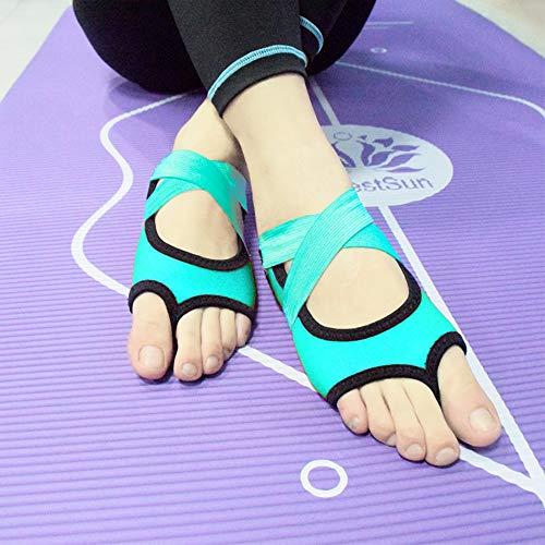GDL Bandage Professional Yoga Schuhe bodenlose Luftrutsch-Fitness-Fingerlose Refers zu Fünf-Finger-Adult-Yoga-Socken,Blue,M