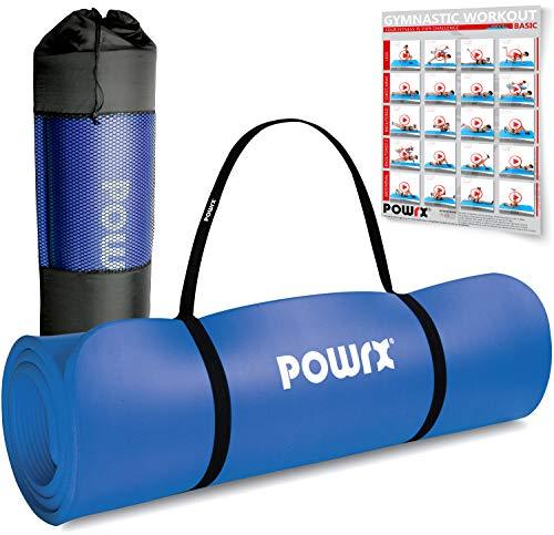 POWRX Gymnastikmatte Premium inkl. Trageband + Tasche + Übungsposter GRATIS I Hautfreundliche Fitnessmatte...