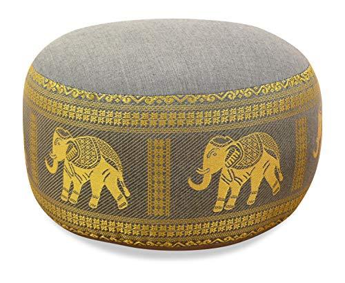 livasia Kapok Zafukissen, Sitzkissen, Yogakissen, Bodensitzkissen, Meditationskissen (hellgrau-Elefanten)
