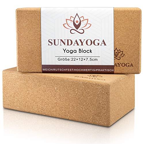 SUNDAYOGA   Yoga Block 2er Set aus Kork   hergestellt aus Naturkork   Yogaklotz für Yoga und Pilates   Yogablock für Anfänger und Fortgeschrittene   Yogablöcke sind stabil   rutschfest