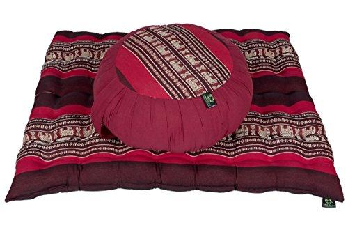 Handelsturm Meditationsset mit Füllung aus Kapok Kissenset bestehend aus Zafu Meditationskissen und Zabuton Matte für Sitzmeditation und Yoga rot/Elefanten