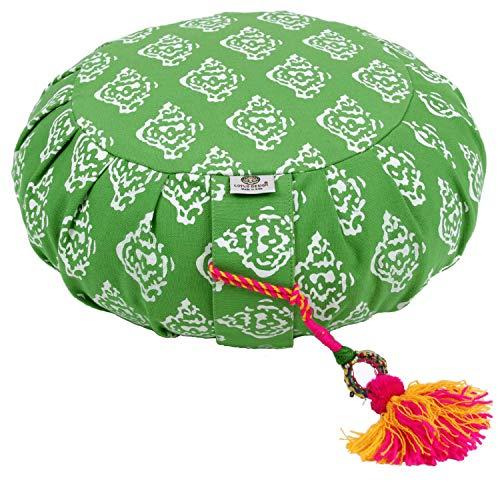 Lotus Design Yogakissen Meditationskissen rund, Sitzhöhe 15cm hoch, Yoga Kissen Zafu bunt, Bezug Baumwolle waschbar, Yoga Sitzkissen Bodenkissen mit Muster, hohes Jogakissen mit Buchweizenschalen
