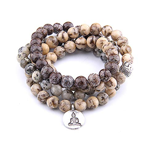 Hot Slae Indian Agat Naturstein Armband 108 Mala Yoga Halskette Matt Amazonite Schmuck Buddha Lotus Anhänger Armband Unisex