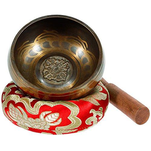 Rovtop Tibetische Klangschale Klein 9.5cm - 230g, Klangschalen Set Beinhaltet Deko Kissen und Klöppel für...
