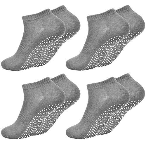 Fangehong 4 Paare Antirutsch Socken für Herren Damen Größe EU 40-45, Yogasocken rutschfest mit Noppen für...