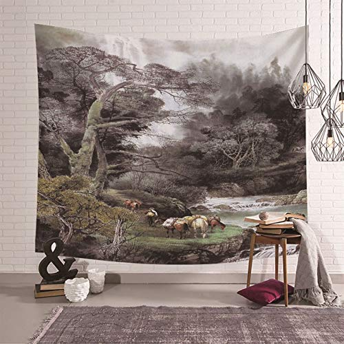 Socoz Teppich Wandbehang Tapestry Wall Hanging 240X220cm,Wald Und Pferde Wandteppich für Wohnzimmer Wandbehang Schlafzimmer Grün Braun Schwarz
