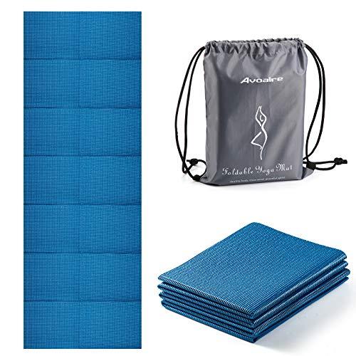 Avoalre Yogamatte rutschfest, 173 x 61CM faltbare Yogamatte mit Tasche, Tragbare 5MM Pilatesmatte / Gymnastikmatte / Trainingsmatte / reise Yogamatte ideale für Frau Kinder und Männer - Blau
