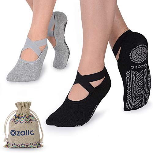 Ozaiic Yoga Socken rutschfeste für Damen für Pilates, Barre, Ballett, Tanz (EUR 35-41, 2 Paar - Schwarz und...