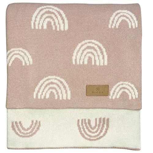 Babydecke Baumwolle rosa Regenbögen - aus 100% GOTS BIO Baumwolle (kbA kontrolliert biologischer Anbau) Mädchen Strickdecke Baby Decke Baumwolldecke Strick Kinderwagen Kuscheldecke Geschenk zur Geburt