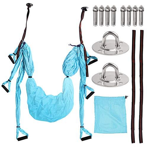 COLFULINE Yoga Hängematte Set, Mit 2 Montagebasen, Luftseide Yoga Set Safe Deluxe Aerial Kit für Fitness Yoga Anti-Schwerkraft-Swing/Sling/Inversion(Blau)