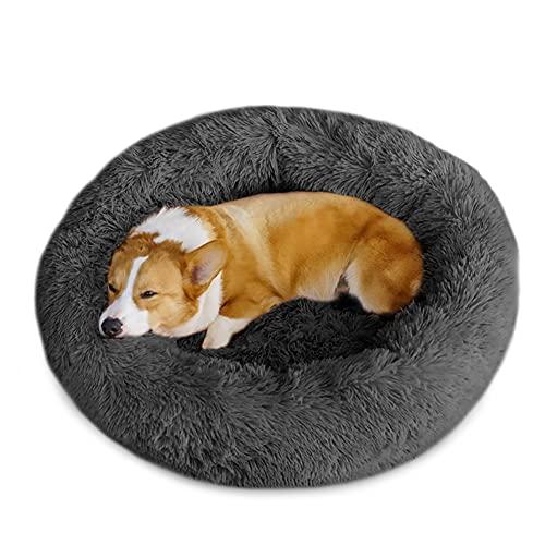 Beruhigende Hundebetten für kleine, mittelgroße und große Hunde, waschbares Donut-Hundebett mit weichem flauschigem Kissen, rundes Plüsch, Katzen und Hunde, Haustierbett, dunkelgrau S (50 cm)