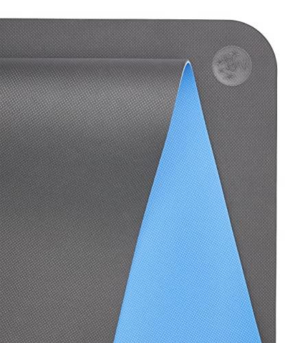 Manduka Begin Yogamatte – Premium 5 mm dicke Yogamatte mit Ausrichtungsstreifen, Fitnessmatte für Anfänger, geeignet für Yoga und Pilates, Unterstützung und Stabilität   wendbar, 172 cm, stahlgrau