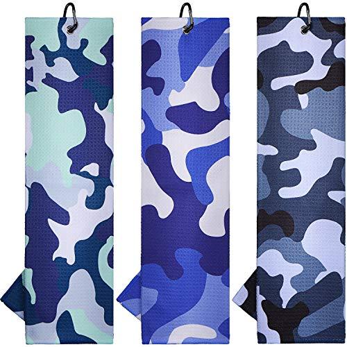 Boao 3 Stücke Mikrofaser Golf Handtuch mit Clip, Golf Reinigungstuch für Golf Yoga Camping Gym, 16 x 20 Zoll...