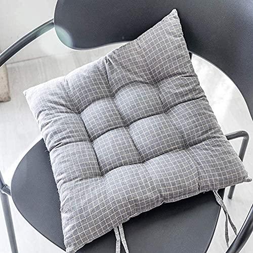 KJHGK Home Linen Stuhlkissen, 40,6 x 40,6 cm, mit Bändern, quadratisches Sitzkissen mit dicker Baumwollfüllung, Stuhlpolster für Sofa, Esszimmerstuhl, Outdoor, C_1 Stück