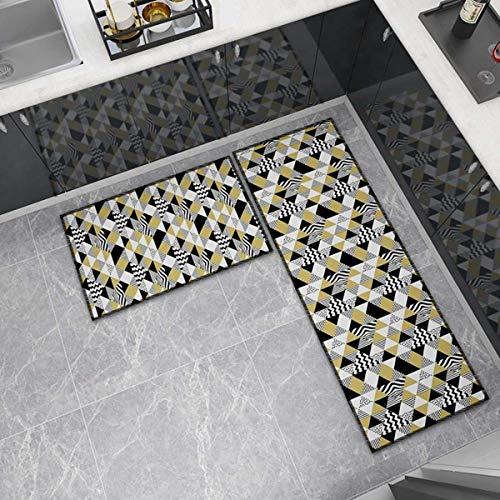 OPLJ Küchenmatte Anti-Rutsch-Türmatte Modernes Wohnzimmer Balkon Badezimmer Geometrisch bedruckter Teppich Waschbare Fußmatte A25 60x90cm