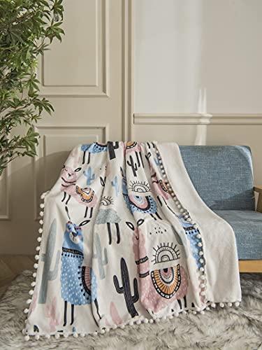 Llama Flanelldecke Pom Poms Decke Cartoon Alpaka und Kaktus mit weißen Ball Fransen gedruckt leicht gemütlich Plüsch Überwurf Decke für Kinder Jungen Mädchen Halloween Geschenke 127 x 101 cm